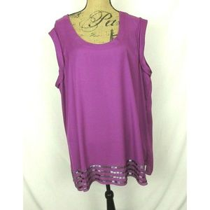 NWT French Connection Plum/Pink Beaded Top (2X)